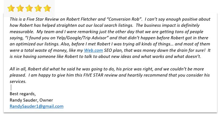 Five Star Review Conversion Rob